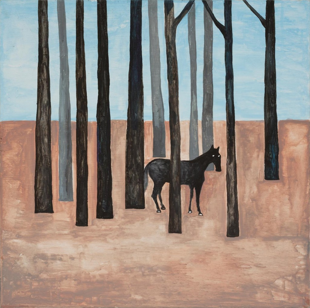 13_Noel-McKenna_Concealing-the-Spot_Black-horse-amongst-trees_copyright-the-artist-and-mothers-tankstation