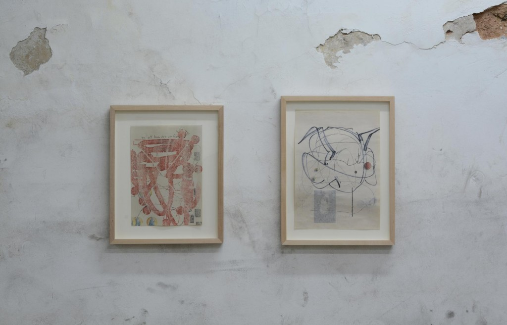 13_The-Mud-of-Compound-Experience_Uri-Aran_Untitled_two-framed-drawings-on-wall_copyright_the-artist-and-mother's-tankstation