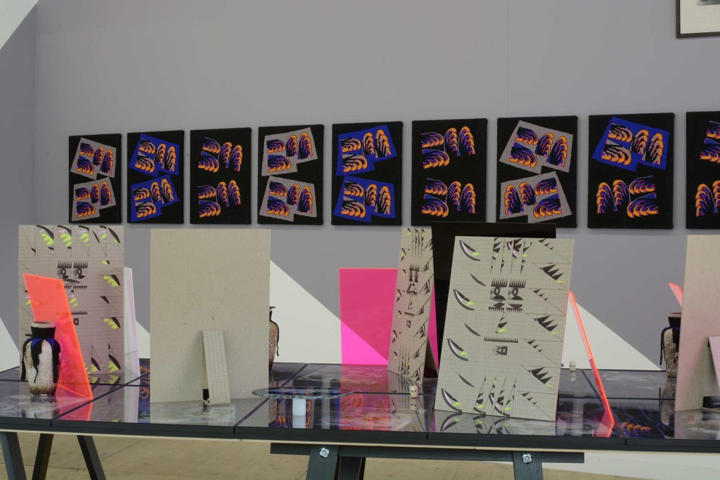 LISTE-2015_AML_Installation-view-(29)_collage-table-and-bead-paintings
