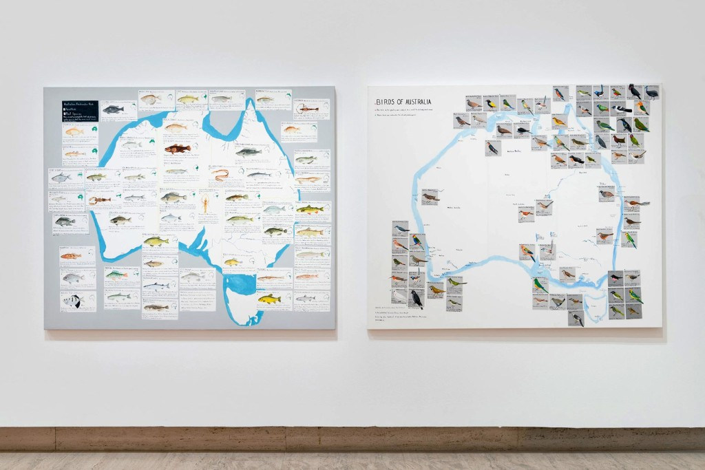 3.-Noel-McKenna_Freshwater-Fish-and-Birds-of-Australia_Landscape-Mapped_installation-view_copyright-mother's-tankstation