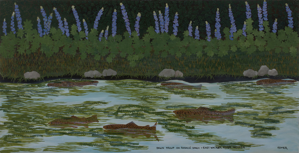 9.1 Jessie-Homer-French_Dawn-Trout-on-Rosachi-Ranch_East-Walker-River_Nevada_1991_Oil-on-canvas_46-x-91-cm_Copyright-the-artist-and-mother's-tankstation-limited