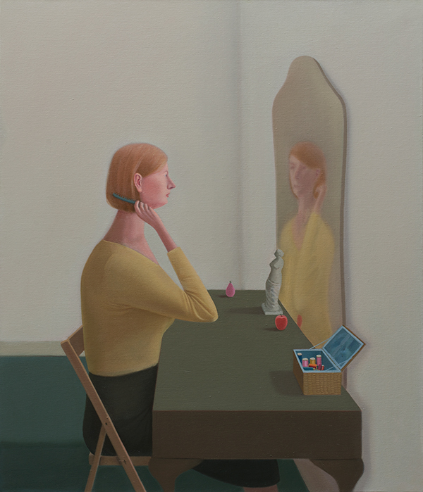 2.-Prudence-Flint_Queen-Anne-Mirror_2012_Oil-on-linen_122-x-102-cm_Copyright-the-artist-and-mother's-tankstation-limited