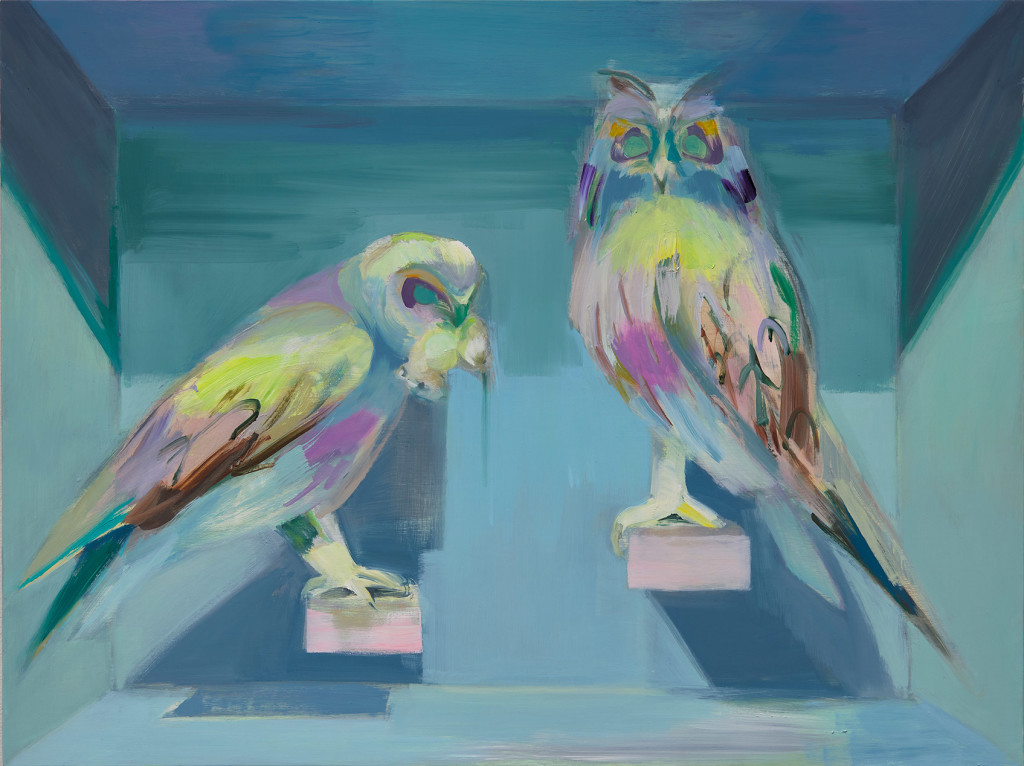 9.-Mairead O'hEocha_Two-Owls_2020_Oil on board_63 x 84 cm_Copyright the artist and mother's tankstation limited