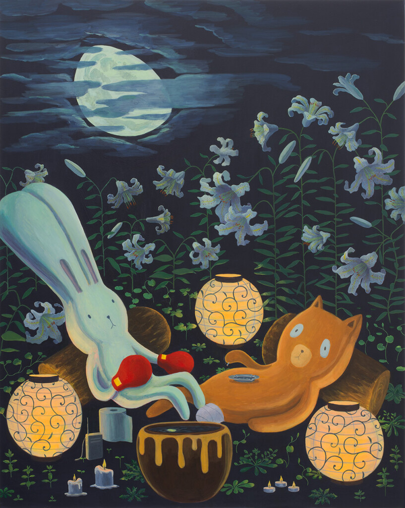 2.2-Atsushi-KagaWe-are-still-here-even-though-the-moon-is-clouded-(during-the-lockdown)-(after-Sargent)_2020_Acrylic-on-canvas_150-x-120-cm_Copyright-the-artist-and-mother's-tankstation-limited